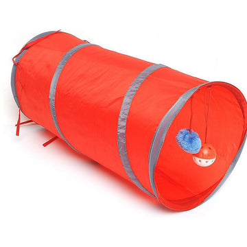 Cat Tunnel, Foldable Polyester Fabric Pet Tube Tent Fun Tool Passageway with Ring Bell