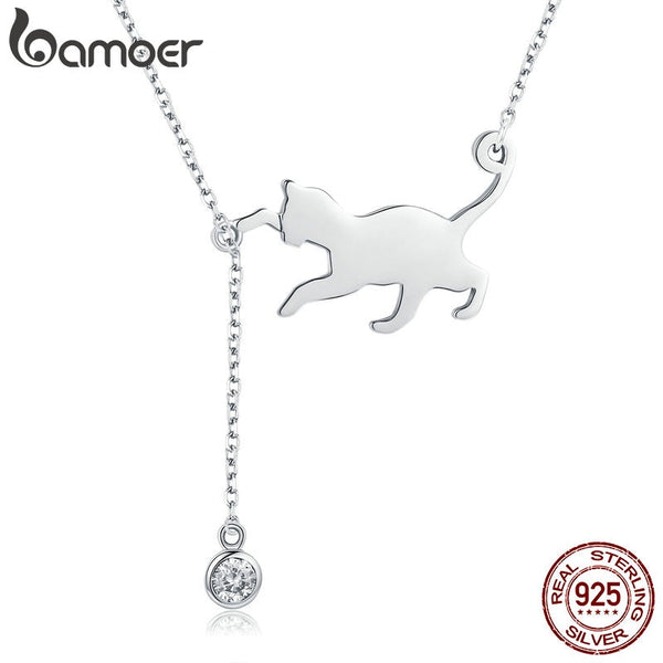 BAMOER Fashion Genuine 925 Sterling Silver Cute Pet Pussy Cat Chain Pendant Necklace for Women Sterling Silver Jewelry SCN232