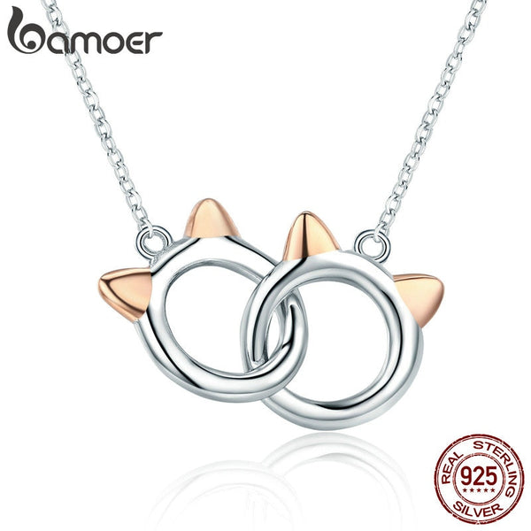 BAMOER New Arrival Genuine 925 Sterling Silver Pet Cat Handcuffs Cute Animal Pendant Necklaces Women Silver Jewelry Gift SCN252