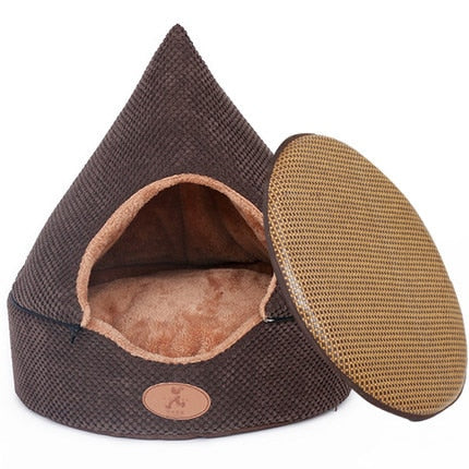 Pet Dog Bed Cat Tent Dog House All Seasons Bed for dogs Dirt-resistant Soft Yurt Bed with Double Sided Washable Cushion - Bedding - Molly Brands - Molly Brands