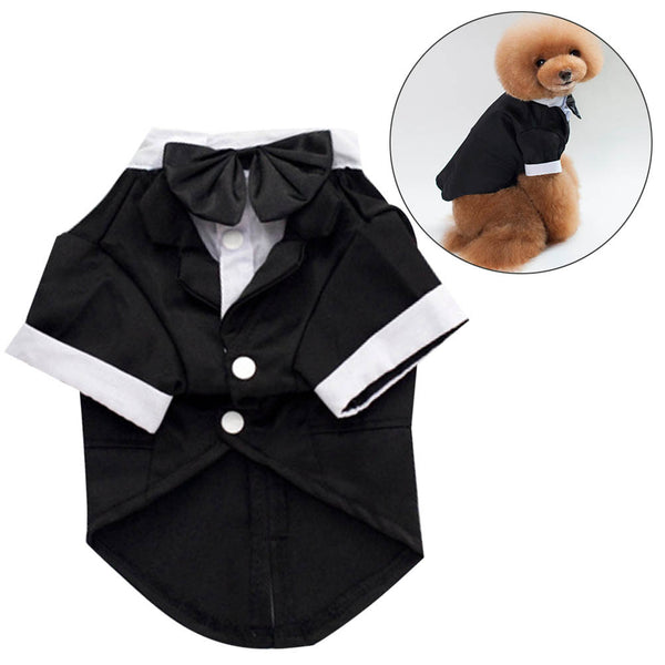 Dog Tuxedo Wedding Suit Dapper Dog Pet Costume with Bow - Fashion - Molly Brands - Molly Brands