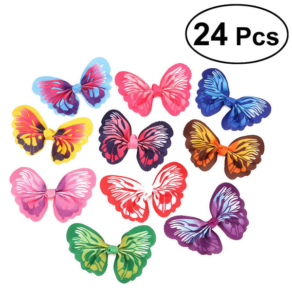 24PCS Cute Puppy Hair Bows Cat Hair Clips Dog Topknot Small Bowknot Pet Grooming Accessories - Fashion - Molly Brands - Molly Brands