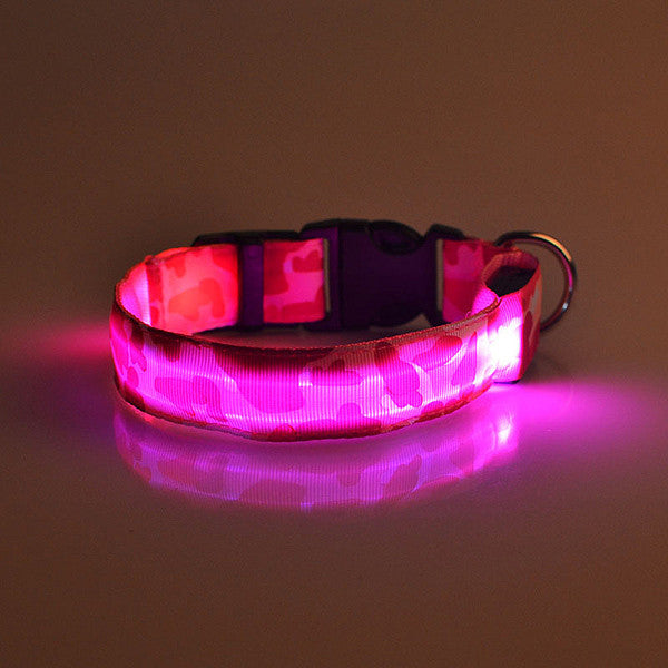 LED Glow Camouflage Collar Dog Puppy Pet Flashing Light Safety Nylon Leash Collar - Collar - Molly Brands - Molly Brands