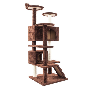 Pet Cat Tree Tower Condo Scratcher Kitty Pet Mansions Furniture Brown New