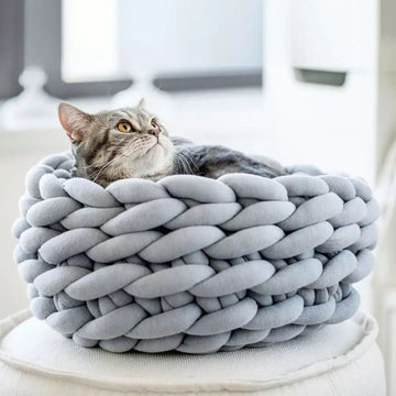 pawstrip 3 Size Handmade Knit Cat Bed Winter Warm Small Dog Beds Soft Cat Cave Beds Washable Pet Beds For Cats 35/40/45cm