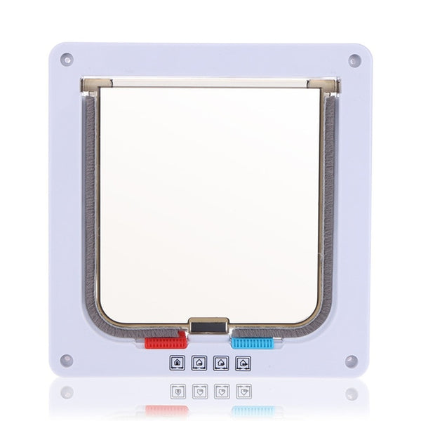 4 Way Lockable Dog Cat Kitten Door Security Flap Door ABS Plastic S/M/L Animal Small Pet Cat Dog Gate Door Pet Supplies -  - Molly Brands - Molly Brands
