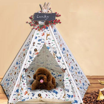 Pet Teepee Tent Dog Cat Bed Pet Bed Mat Dog Teepee Tent Pet Bed House Pet Kennel Bed 3 Size Pet Tent with Cushion Cushion