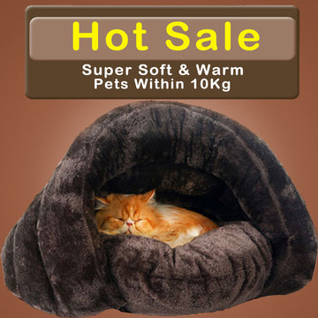 Warm Cat Sleeping Bags Pet Beds Half Cover Winter Nest Kitty House Cats Bed Brown 2 Size #K
