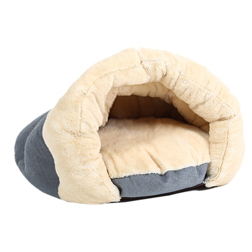 Warm Cat Sleeping Bags Pet Beds Half Cover Winter Nest Kitty House Cats Bed Brown 2 Size #K - Bedding - Molly Brands - Molly Brands