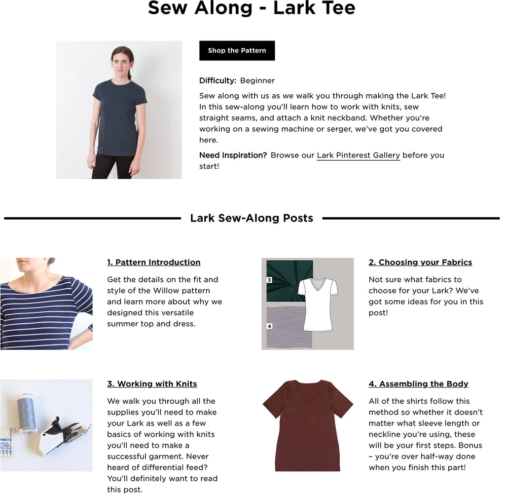 Lark Tee Sew-Along from Grainline Studio Sewing Patterns