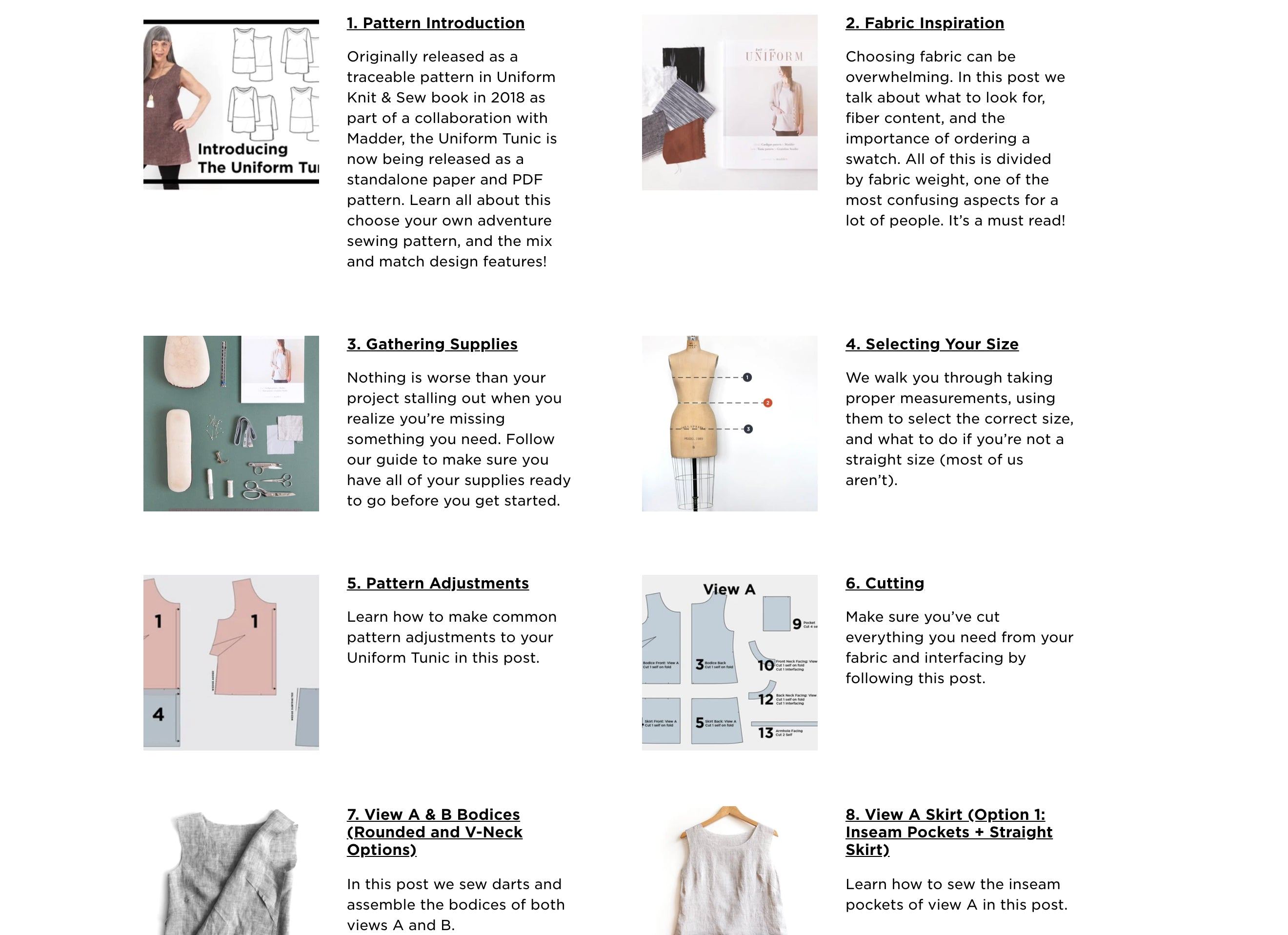 Grainline Studio Uniform Tunic Resources