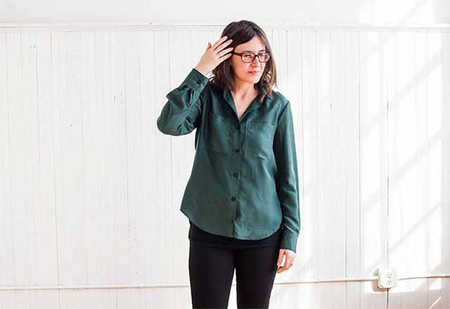 Grainline Studio | Green Silk Archer | Photos by Julia Stotz