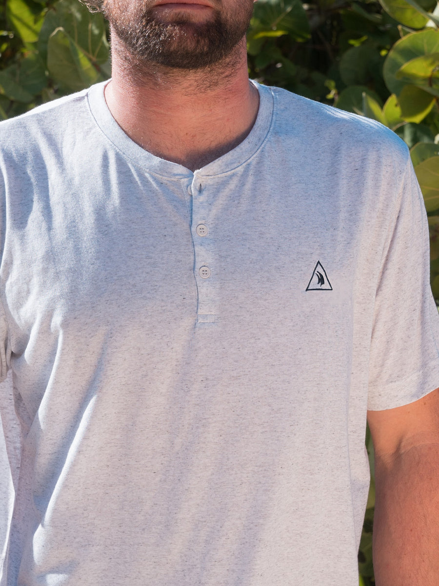 Men's White Fleck Henley T-shirt
