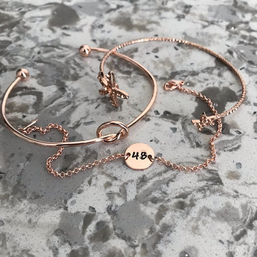 Custom Rose Gold Number Bracelet