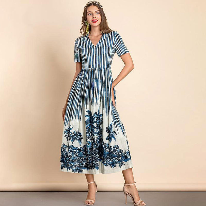 Julia Striped Short Sleeve Midi Dress