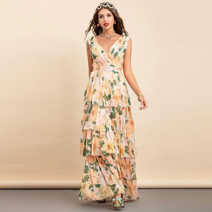 Tatiana Floral V-Neck Maxi Dress