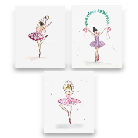 Ballarina Prints Matted Set of 3