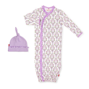 unicorn dreams organic cotton magnetic gown + hat set NB-3MO