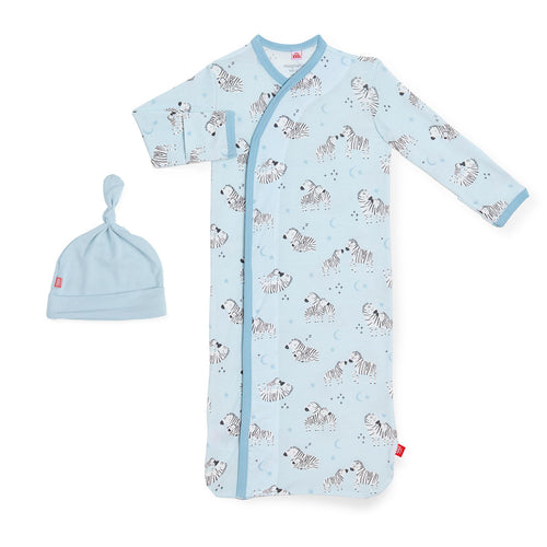 blue little ones modal magnetic gown + hat set NB-3MO 5-12LBS