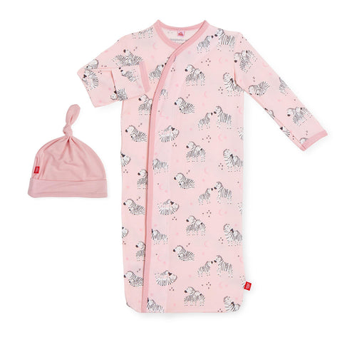 pink little ones modal magnetic sack gown + hat set NB-3MO 5-12LBS