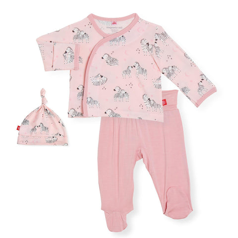 pink little ones modal magnetic 3pc kimono set