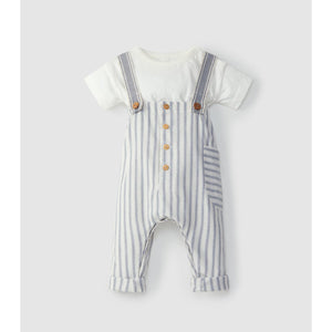 Set striped overall with pocket + t-shirt