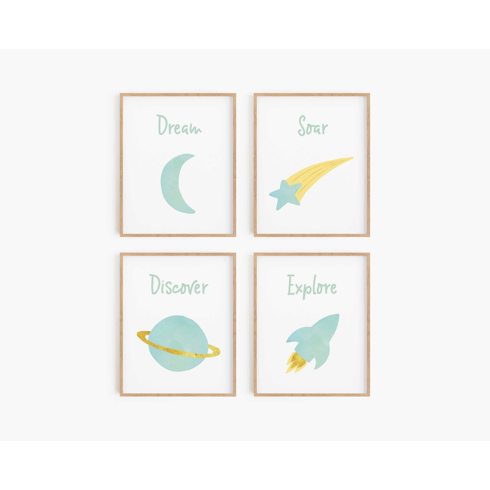 Watercolor Space Art Prints - Mint Green (Set of 4)