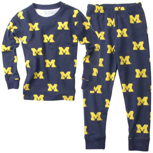 Wes & Willy Michigan Wolverines Allover Printed Pajama-Navy Size 2T