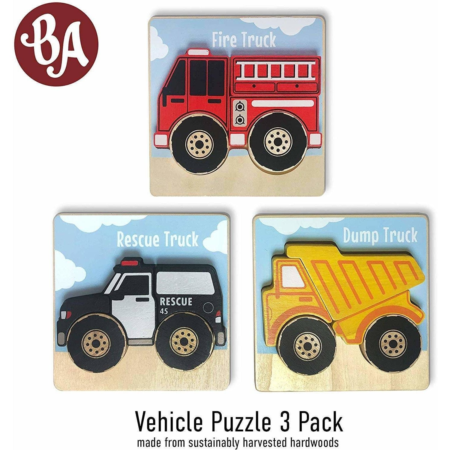 Vehicles Puzzles 3-Pack - Chunky Pieces 5 piece Puzzles