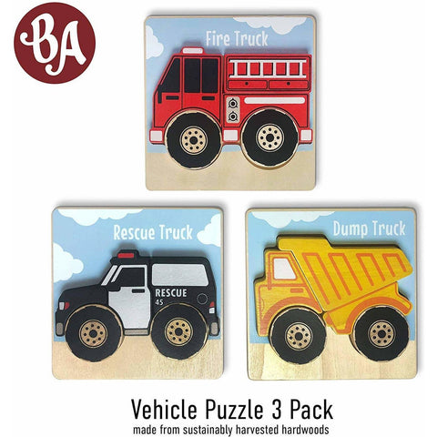 Preorder Vehicles Puzzles 3-Pack - Chunky Pieces 5 piece Puzzles