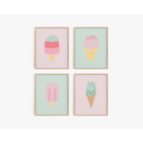 Sweet Summer Art Prints - Lavender/Mint  (Set of 4)