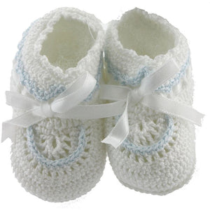 Petit Ami Boys White Crochet Booties with Blue Trim and White Satin Ribbon