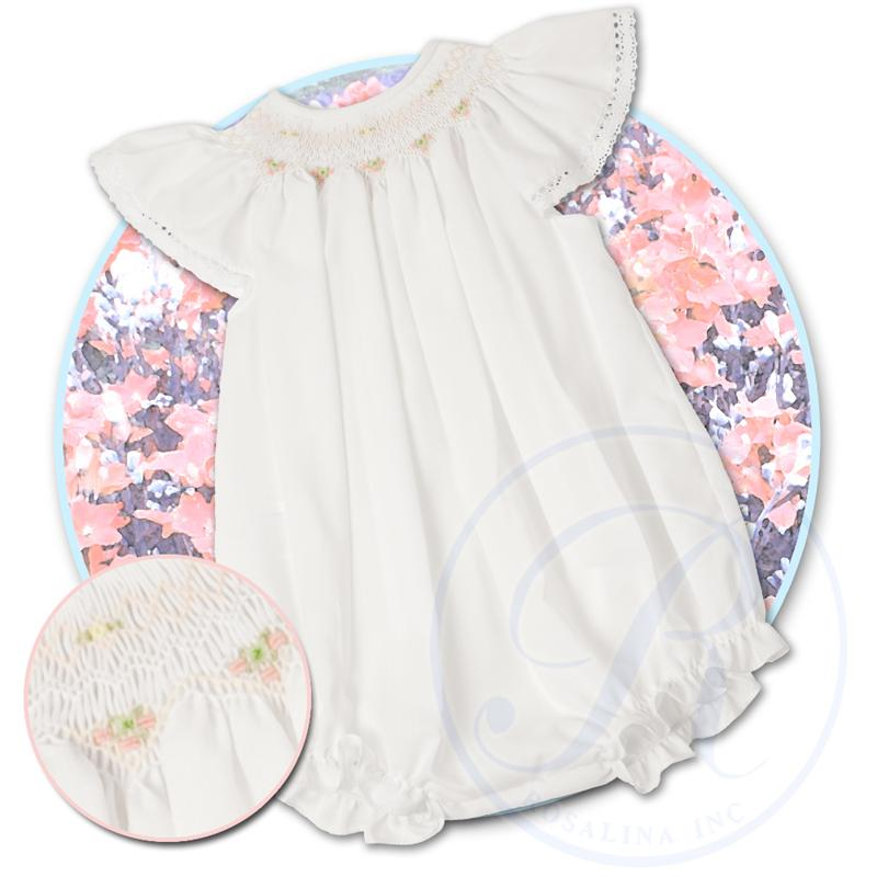 White with Pink Smocked Angel Sleeve Lacy Bubble