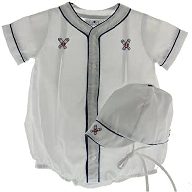 Petit Ami Boys Baseball Romper with Hat Infant White