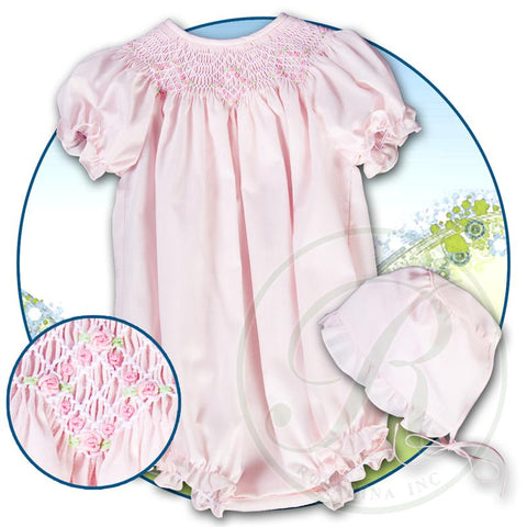 Pink English Smocked Girl Bubble with Bonnet