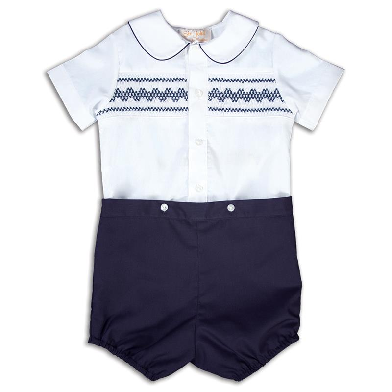 White & Navy Smocked Button Short Set