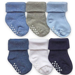 Non-Skid Turn Cuff Socks 6 Pair Pack Boys and Girls