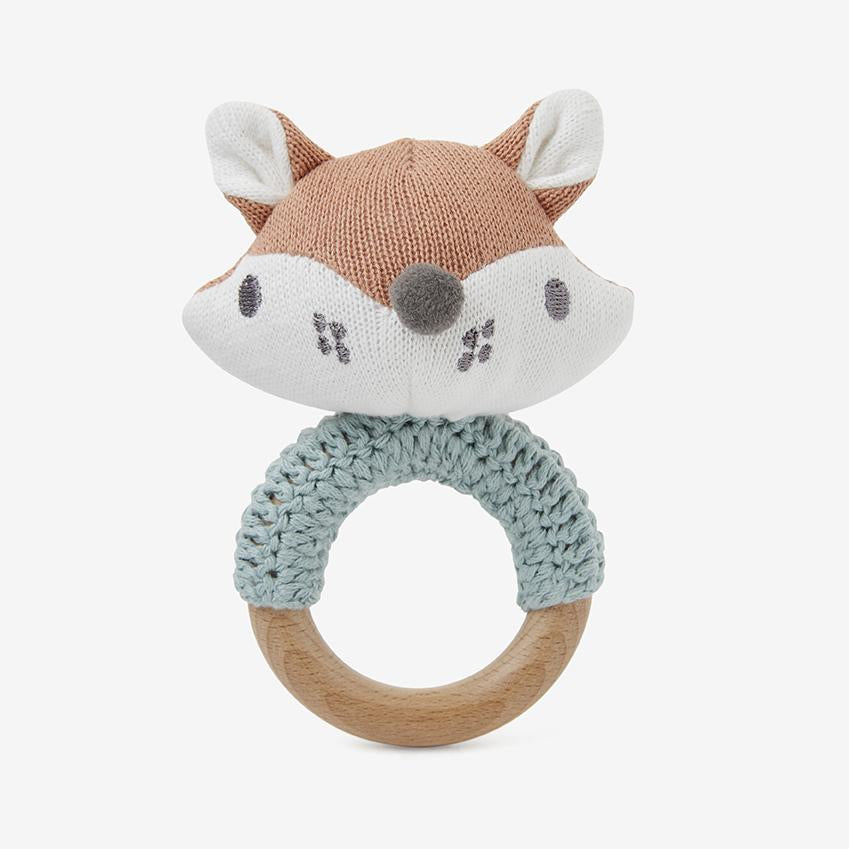 Felix Fox Knit Baby Ring Rattle