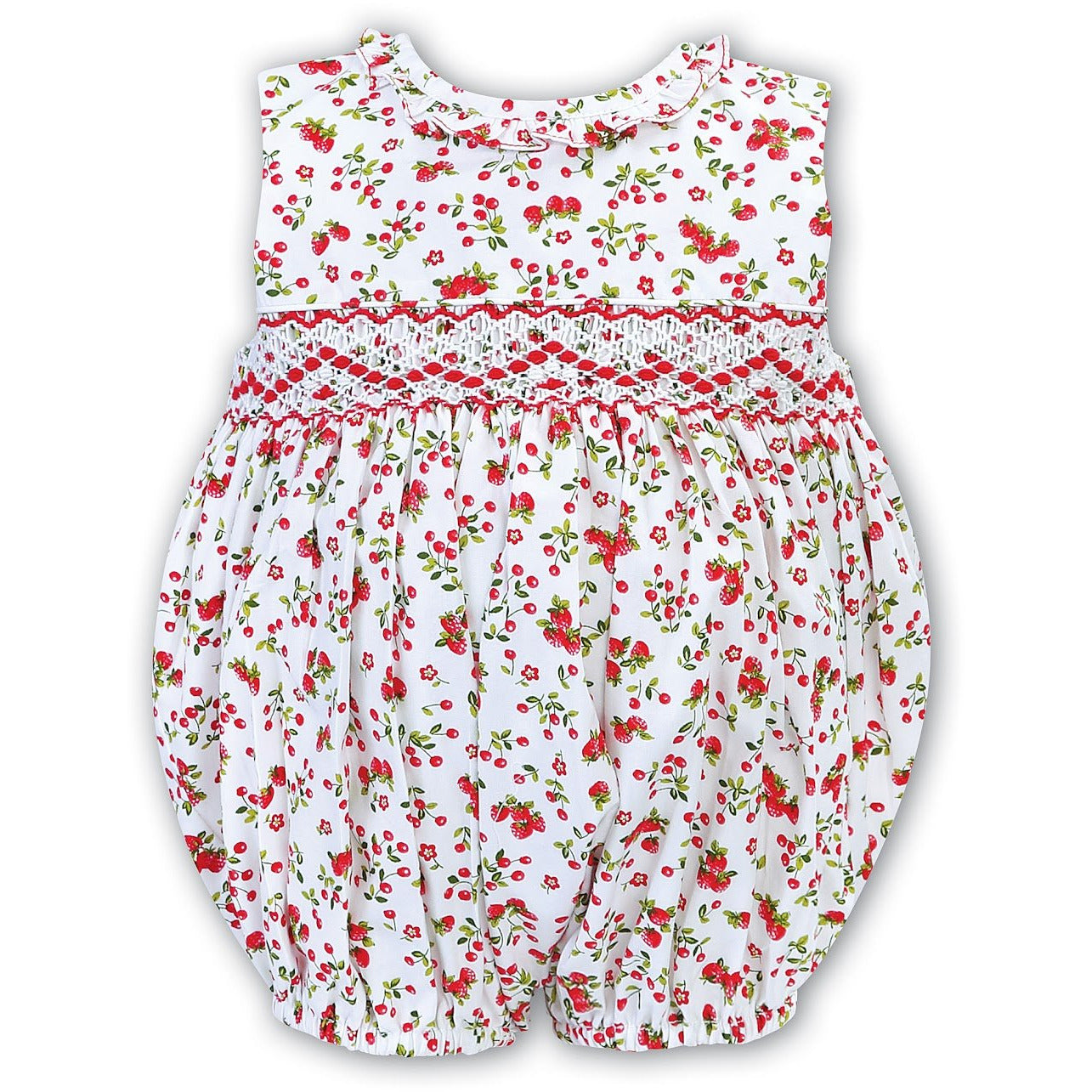 Hand Smocked Cherry Print Bubble