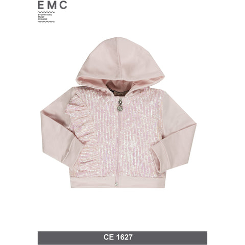 Stretch Fleece and Paillettes Fabric Zipped Hoodie by EMC