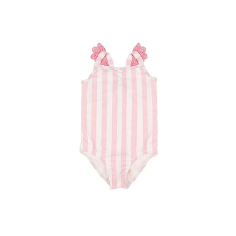 Long Bay Bathing Suit Caicos Cabana Stripe with Hamptons Hot Pink