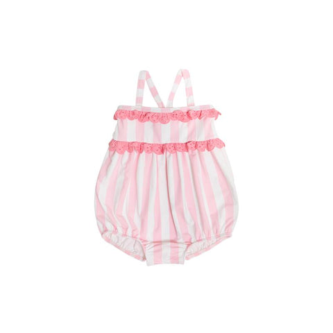 St. Bart's Bubble Bathing Suit Caicos Cabana Stripe with Hamptons Hot Pink