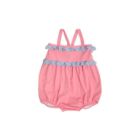 St. Bart's Bubble Bathing Suit Hamptons Hot Pink W/Buckhead Blue Eyelet
