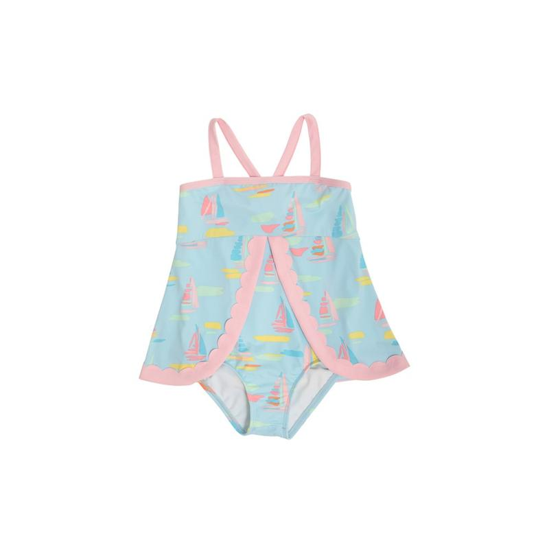 Stratford Scallop Swimsuit Sandyport Sailboats Blue with Palm Beach Pink