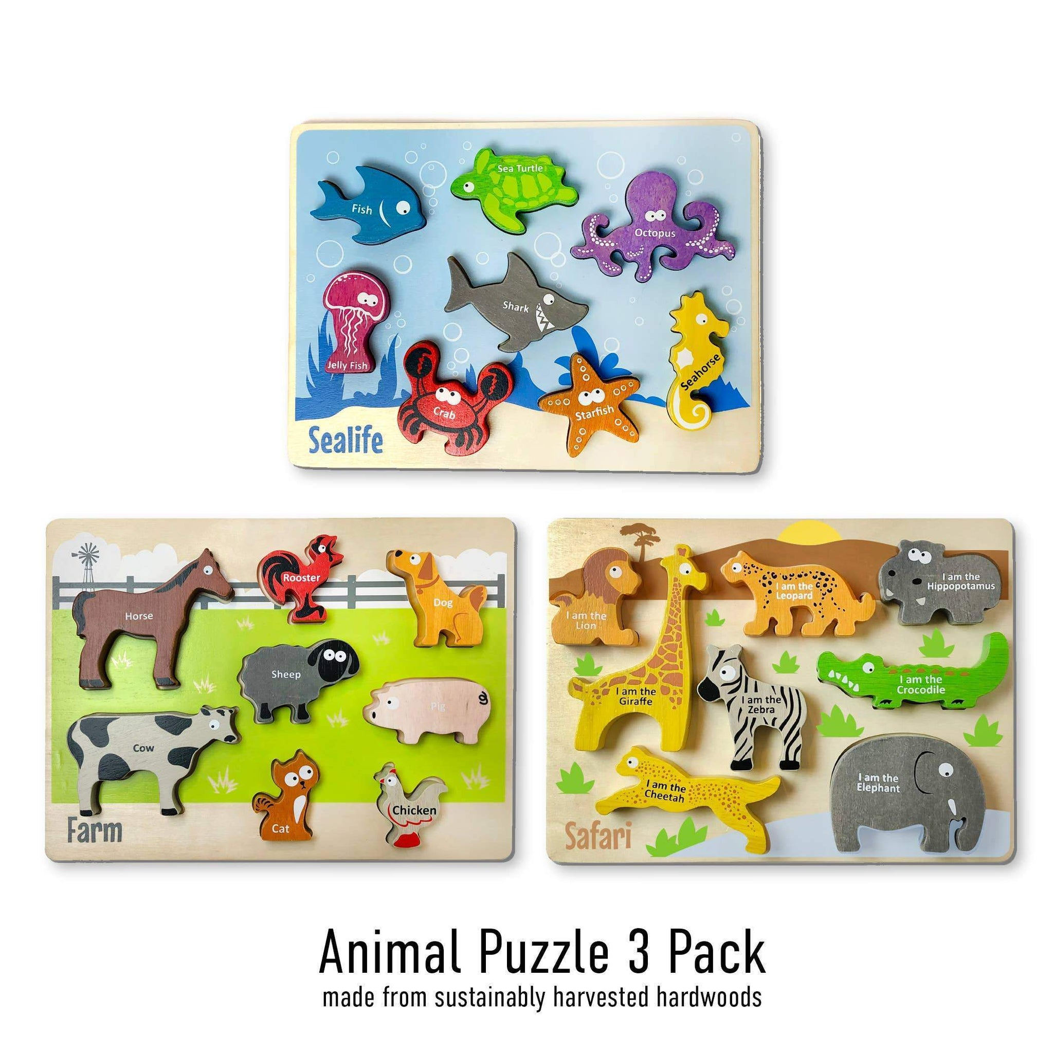 Animal Puzzles 3-Pack - Chunky Pieces 6 piece Puzzles