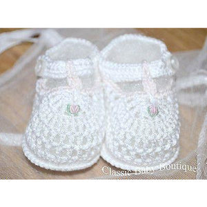 Petit Ami White T Strap Crochet Rosebud Baby Booties