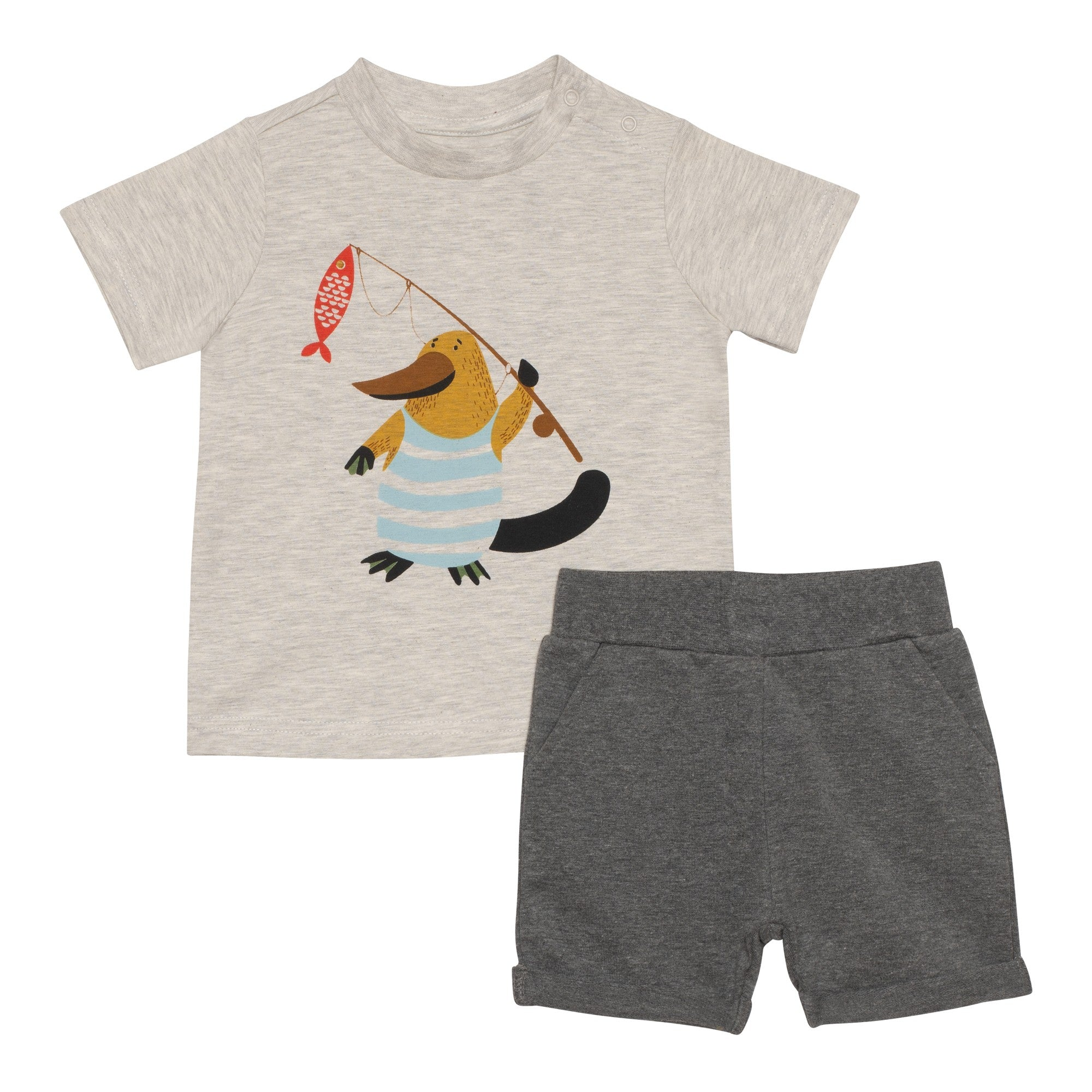 Graphic Tee and French Terry Short Set