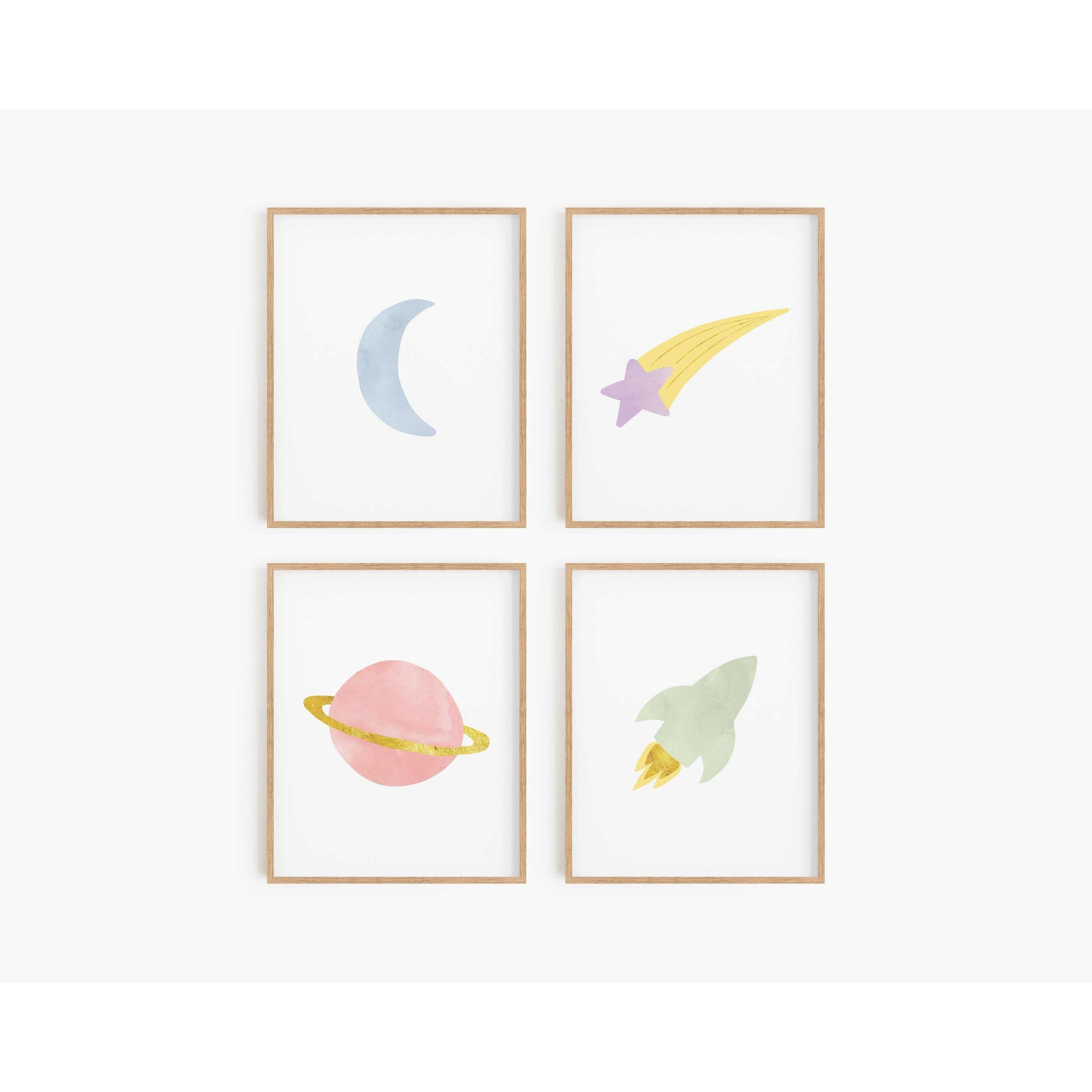 Rainbow Outer Space Art Prints (Set of 4)