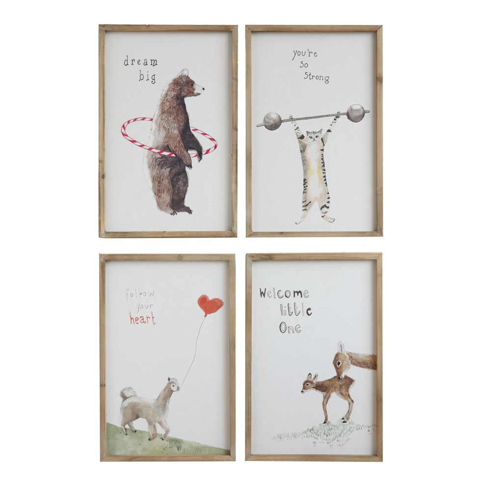 wood framed art with quotes and animals