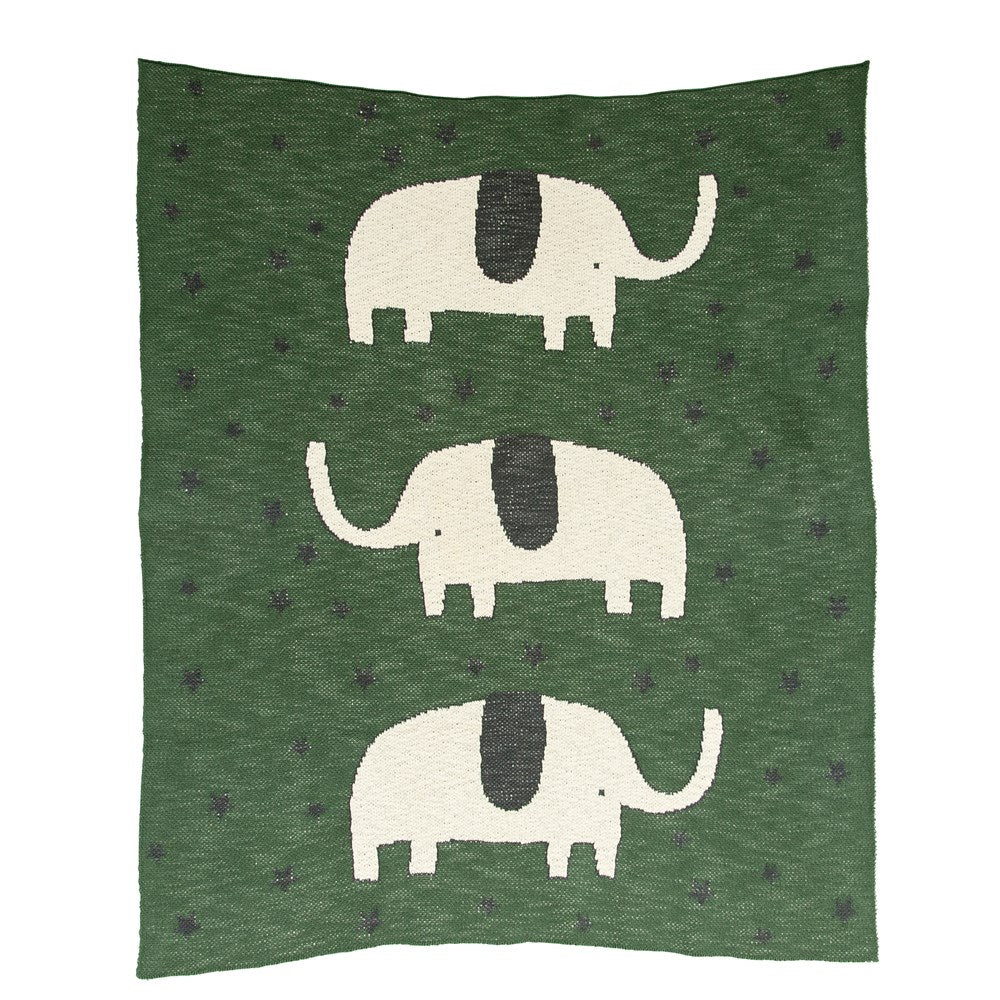 Cotton Knit Baby Blanket w/ Elephant, Green